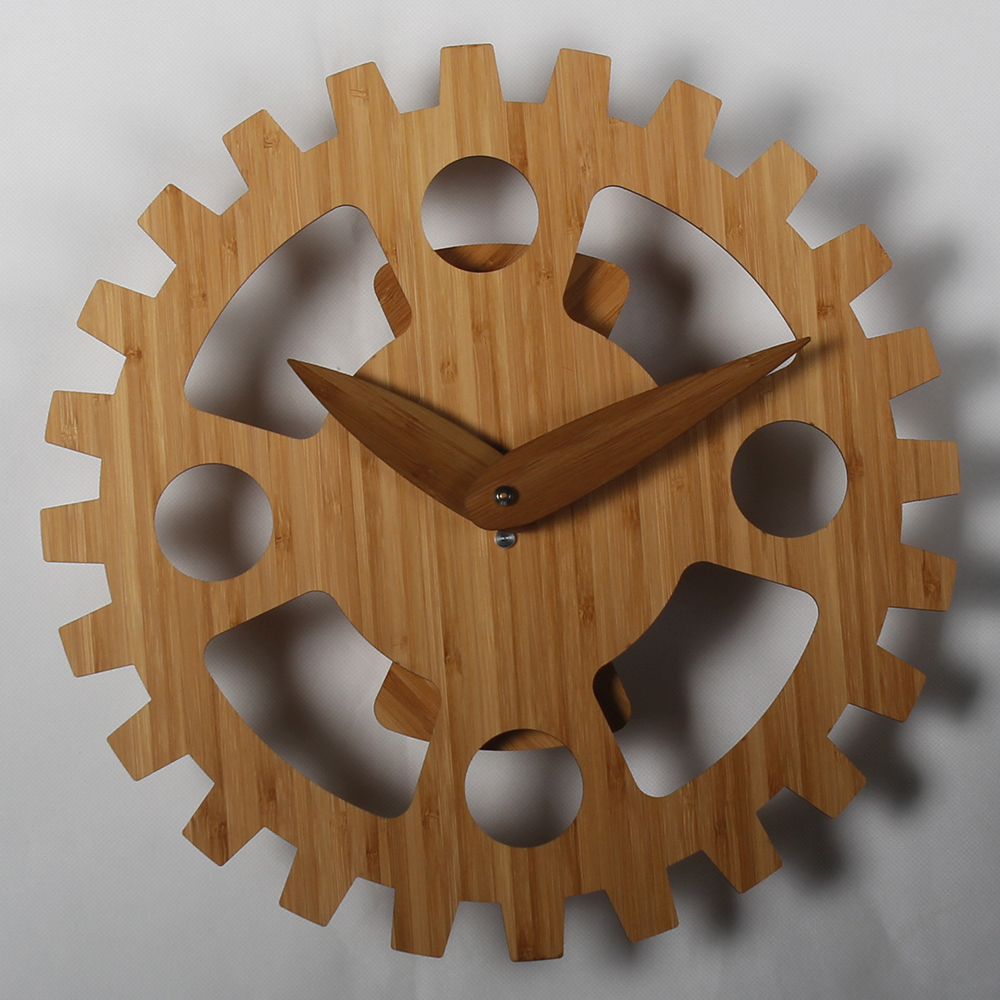 14 Inches Wooden Serrated Gear Wall Clock