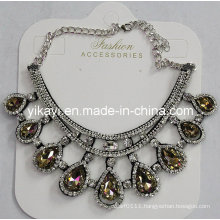 Women Fashion Jewelry Champagne Waterdrop Glass Crystal Pendant Necklace (JE0210-champagne)