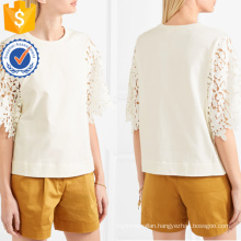 Hot Sale White Short Sleeve Guipure Lace Cotton Summer Top Manufacture Wholesale Fashion Women Apparel (TA0076T)