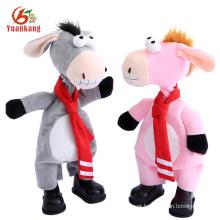 Novo Cantando Brinquedos Personalizados Musical Dança Macio Recheado Pequeno Animal Asnos de Pelúcia Brinquedo