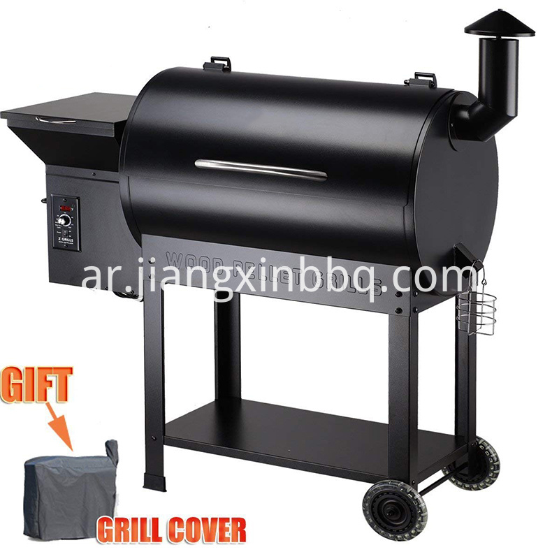 Portable Party Wood Pellet Grill Smoker 700 Cooking Area 8 In 1 Grill In Black Smoke