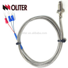 flexible temperature sensor fixing thread insulated ss sheathed braid shielding cable platinum wire thermocouple pt100