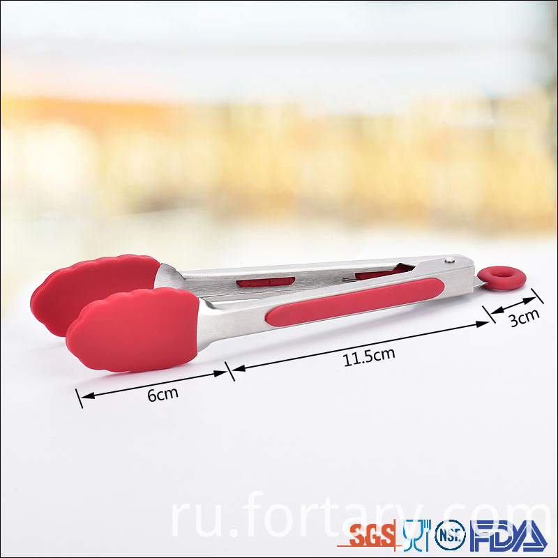 Stainless steel handles silicone tongs