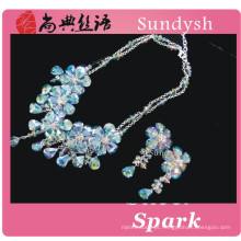 Estilo artesanal do vintage multi camada azul frisada declaração de pedra de cristal flor chunky moda atacado bolha bib colares