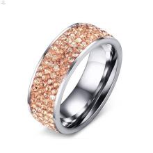 Bague à diamants pavés en or rose en acier inoxydable Hotsale