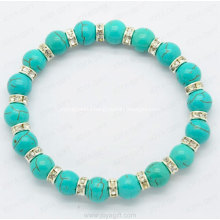 Turquoise Bracelet with white Diamon Ring for Fashion Accessories Bangle