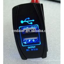 Einzelnes Pole USB-Auto-Ladegerät-Marine-Wippschalter-Platte mit Laser-Stich