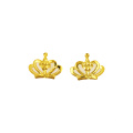 Boucle d'oreille princesse Crown K or jaune or