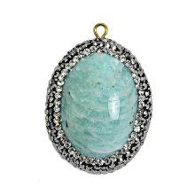 Perle de pierres vertes 36 * 24mm