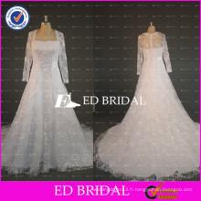 ED Bridal Real Sample Heavy Beaded Lace Appliqued A Line Robes de mariée 2017 à manches longues