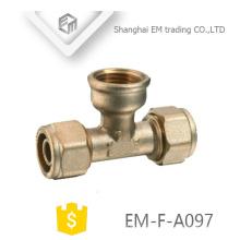 EM-F-A097 latão rosca fêmea tubo de compressão ramo de tubulação de encaixe