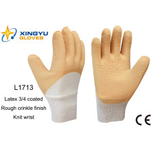 Jersey Liner Latex 3/4 Coated Knit Wrist Safety Work Glove (L1713)