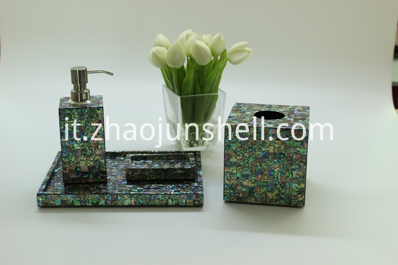 New Zealand Paua Shell Bathroom Accessory Set for Hotel