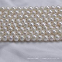 9-10mm de largeur de perles de perles d'eau douce naturelles cultivées Zhuji rondes