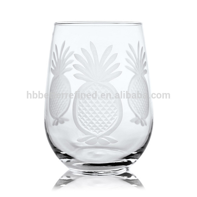 Etched Glass Goblet Wine Glass4