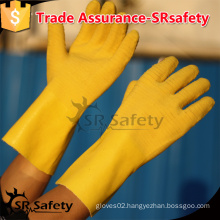 SRSAFTY Yellow nitrile industrial gloves, chemical industrial gloves