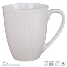 Simply Design White Porcelain Emboss Coffee Mug