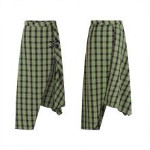 OPQ-720BQF Asymmetrical long skirt 2021 Ins Hot Ladies Irregular High Waist Casual A-line Ruffle plaid skirt Long Skirt