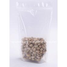 Saco de embalagem de plástico seco transparente personalizado, embalagem de alimentos secos