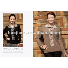 Luxury middle-aged women's heavy cashmere sweater pullover