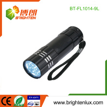 Fabrik Versorgung White Light Notfall verwendet 3 * AAA betrieben billig 9 LED Aluminium Taschenlampe mit Handschlaufe