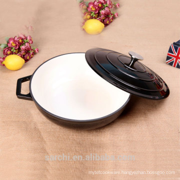 cast iron enamel cookware shallow stock pot