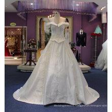 Princess off Shoulder Satin Wedding Dresses with Court Train