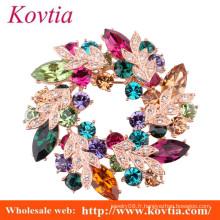Bijoux à la mode bijoux en cristal coloré broche en ornement