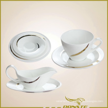 7 PCS Western Dinner Set Lines Decorated with Golden Stripes