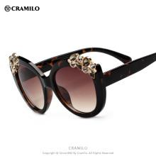 B1736 Cramilo transparent frame with stone vintage women sunglasses