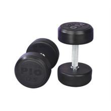 Фиксированный черный резиновый резиновые гантели гантели фитнес оборудование