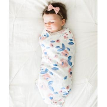 Organic cotton swaddle blanket in Blue and Pink Watercolor Flowers Roses  Peonies in Pink on Blue leaves for newborn baby kids