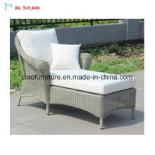 C-Outdoor Garden Round Rattan Antique Style Chaise Lounger