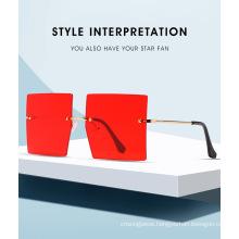 Square Over Size Frameless Metal Sunglasses
