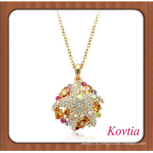 2014 HOT SALE african gold chain amber crystal pendant necklace