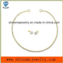 Qualitäts-Schmucksache-Edelstahl-Überzug-Gold mit CZ-Halsketten-Match-Ohr-Bolzen (ERS6885)