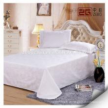 Pure White Sateen Fabric Super Soft Hotel Folha de cama de algodão usado em Guangzhou
