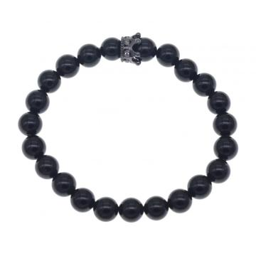 Friendship Black Agate Crown Bracelet For Men And Women Fashion