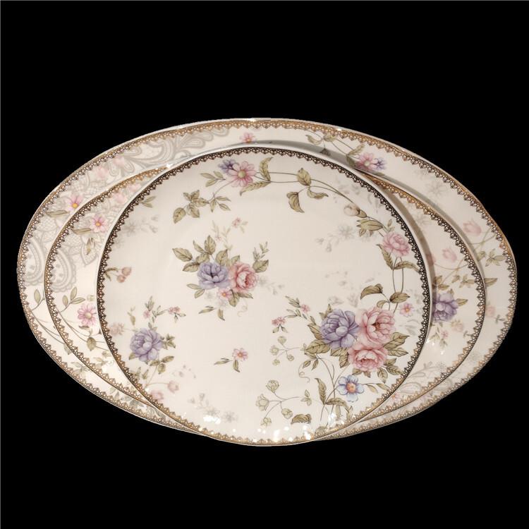 Round Ceramics assiette Dinner Dessert Plate Porcelain dinnerware sets for 6 person party western tableware sets