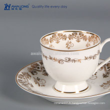 Golden Drawing Keep Cup Mug de café, tasse de café en céramique osseuse Chine