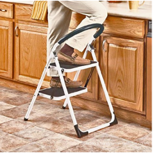 330lbs Upper Reach Reinforced Metal Folding Step-Ladder Household Kitchen Stool (Two Step Ladder)