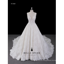 Best Sale Tulle Lace white appliqued print lace Wedding Dress Bridal Gown