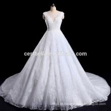 Deep V-Neck pesado Beading Net China vestido de noiva feito sob encomenda feito na China
