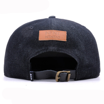 Customize Leather Brim Denim Crown Flat Bill Cap