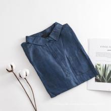 Женская свободная рубашка из темно-синего денима с длинными рукавами из тенсела