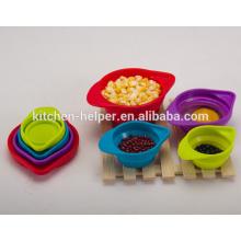 4 -Piece Set empilable espacio ahorro plegable Cup establece a seco y líquidos Ingredientes Silicona Medición Copa