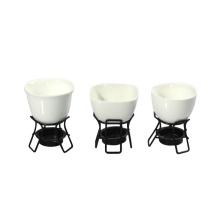 Ensemble de fondue au fromage 2PC en porcelaine blanche