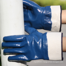 NMSAFETY safety cuff Jersey liner blue nitrile anti oil heavy duty working safety gloves
