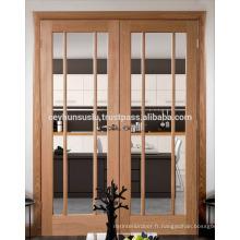 Porte de placage vitrée à double feuille turque