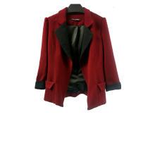Red Patchwork Women's Vintage Blazer